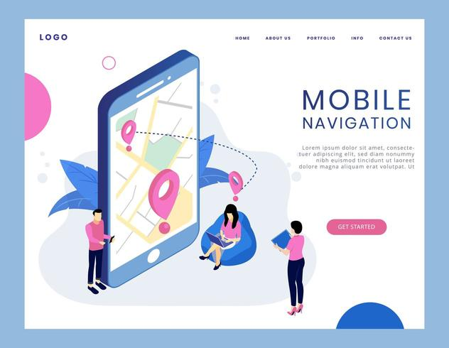 Modern isometric concept of mobile navigation vector