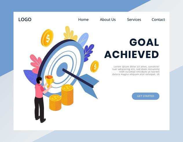 Bannière web de réalisation d'objectif isométrique