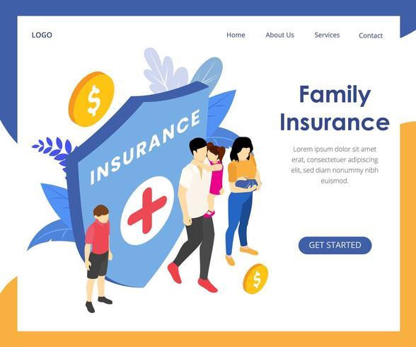 Página de inicio de seguro de salud isométrica vector