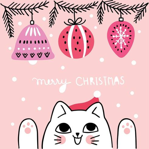 Cartoon cute Christmas  cat and ball Ornaments