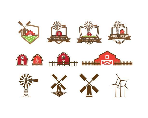 Set logo rosso fienile e mulino a vento