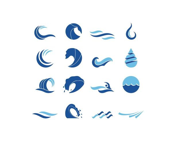 Water wave logo set