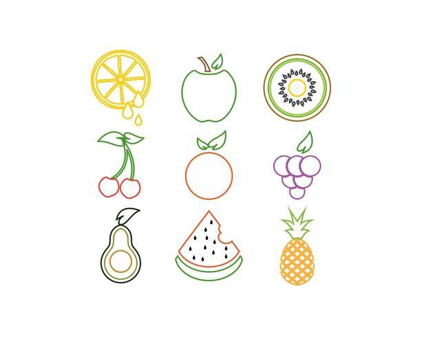 Colorful fruit logo icon set