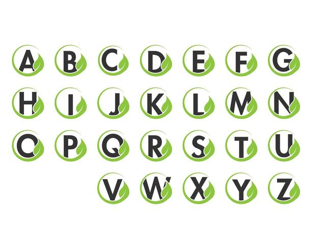 Alphabet initial and leaf logo icon set