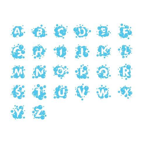 Colección de alfabeto de burbujas establece plantilla de diseño gráfico vector