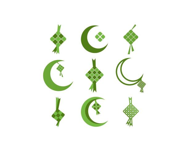 Ketupat eid al fitr ramadan icon set vector