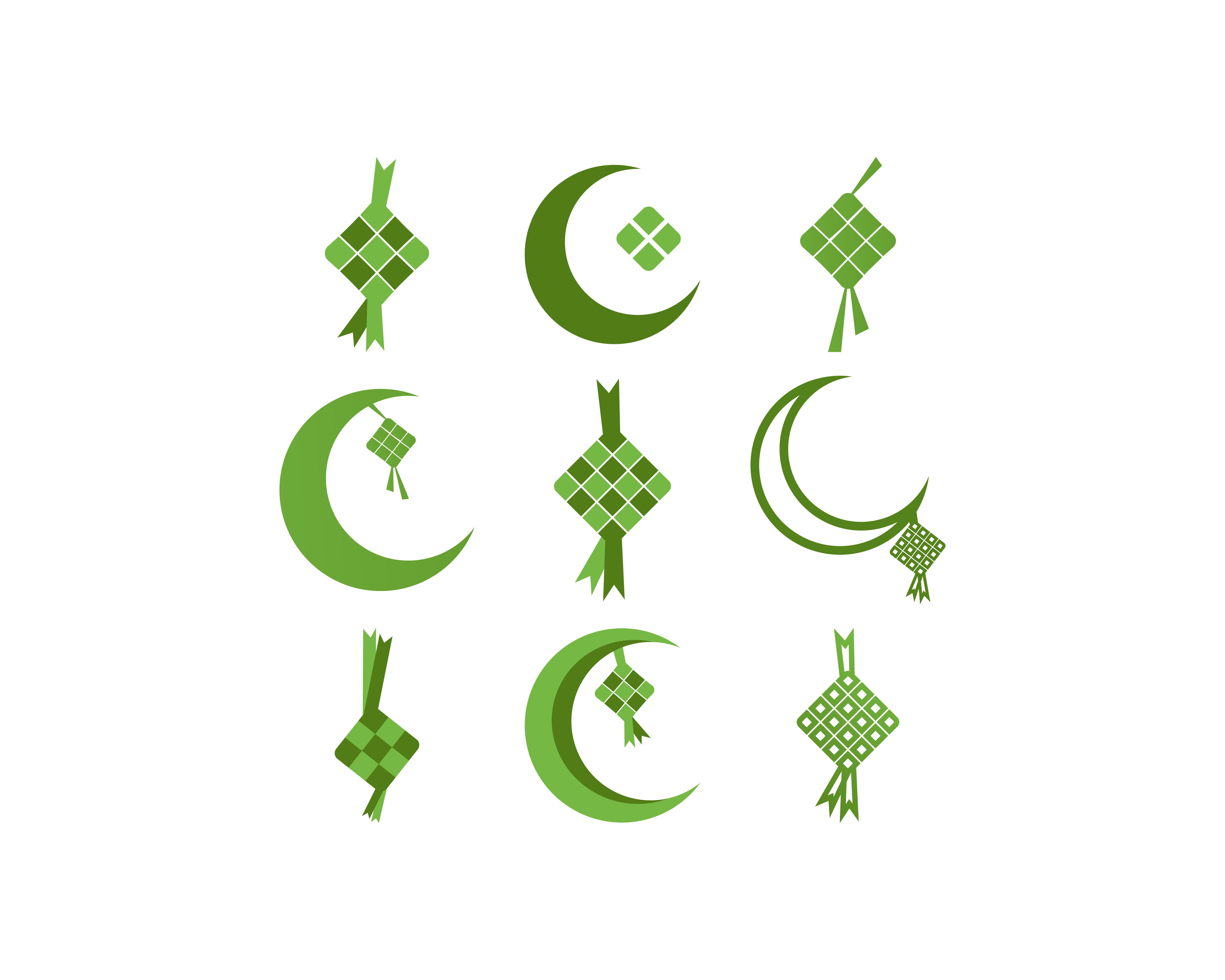 ketupat eid al fitr ramadan icon set download free vectors clipart graphics vector art vecteezy