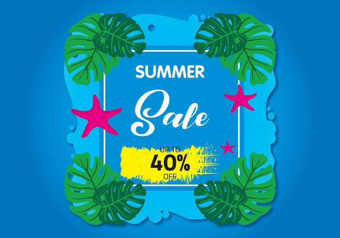 Summer Sale image with leaves and starfish