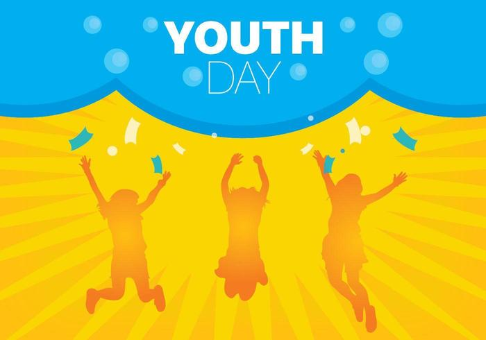 Youth day background with orange silhouettes
