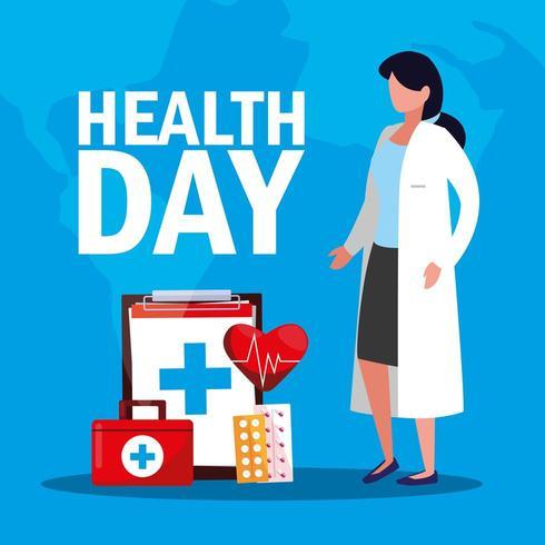 tarjeta del día mundial de la salud con médico e iconos vector
