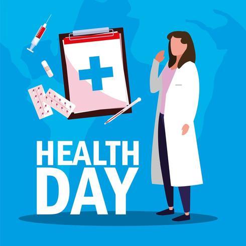 tarjeta del día mundial de la salud con doctora e iconos vector