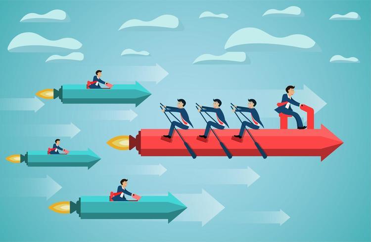 business teamwork on rowing arrow on sky success goal
