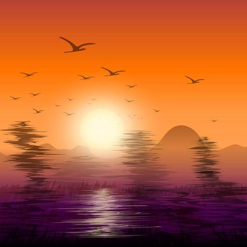 Abstract twilight of nature with flock of birds flying back nest.