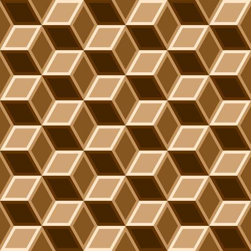 3d box seamless pattern on brown tone.