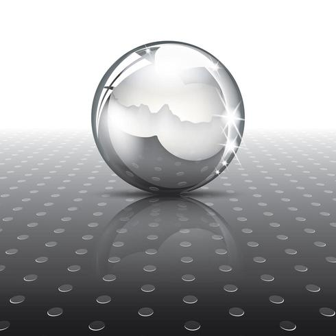 Metal ball on texture vector
