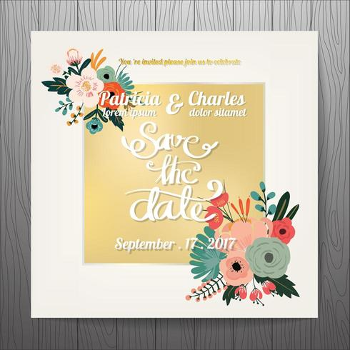 Wedding invitation with golden text box and flowers vector