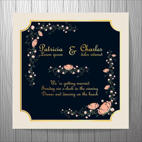 Tarjeta de invitación de boda con flores y estilo vintage