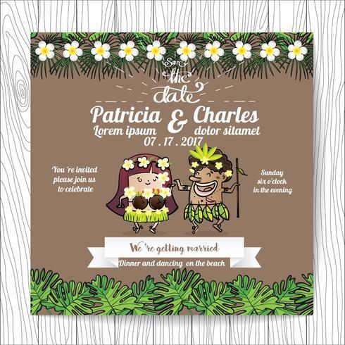 Wedding invitation with tropical Cartoon Bride and Groom Bride vector