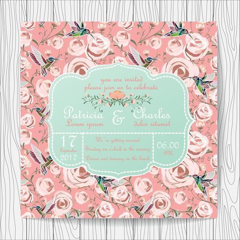 Carte d'invitation de mariage avec des fleurs roses roses et des colibris vecteur
