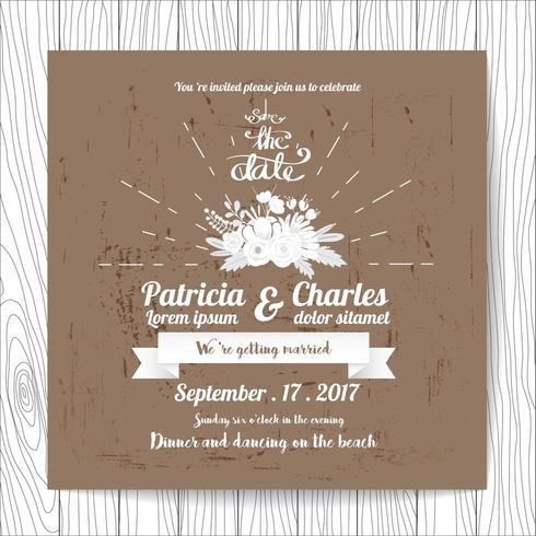 Invitation de mariage dans un style vintage avec fleur sur fond rustique vecteur