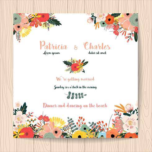 Wedding invitation card with flowers on white background