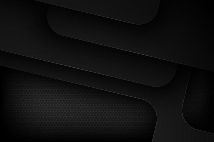 Black overlapping geometric rounded edged shapes