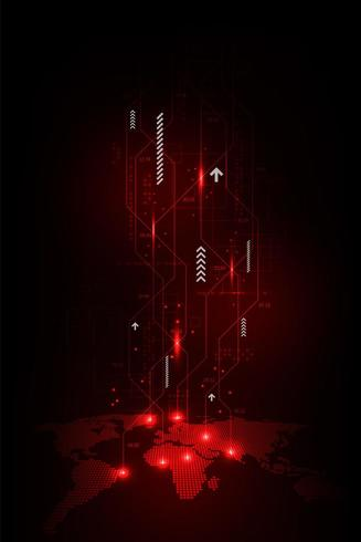 Glowing vertical global tech concept