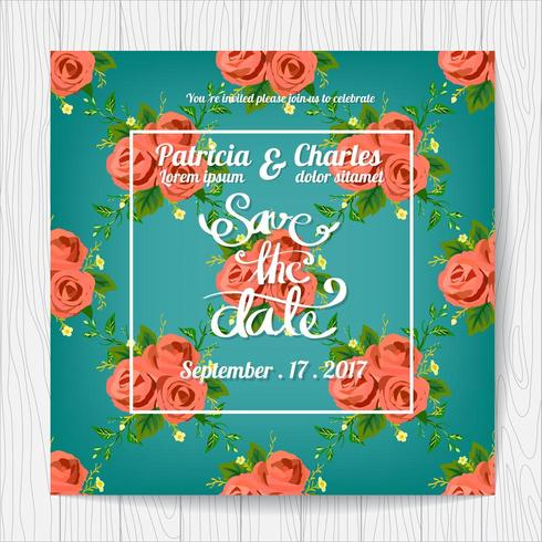 Wedding invitation card with rose pattern vector