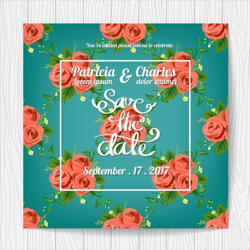 Carte d'invitation de mariage avec motif rose vecteur