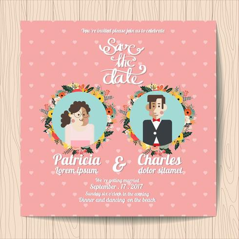 Invito a nozze con fiori Cartoon sposa e fiori su sfondo rosa