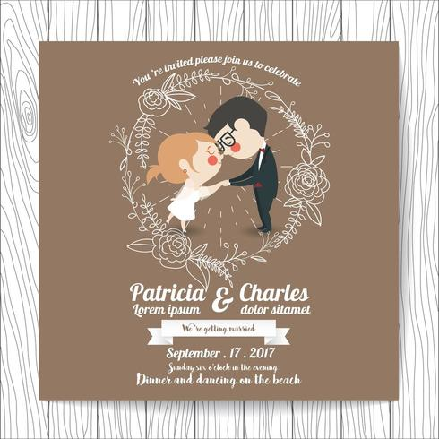 Wedding invitation with Cartoon Bride and Groom holding hands