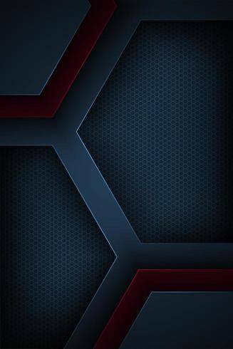 Dark blue and red abstract geometric cut paper background