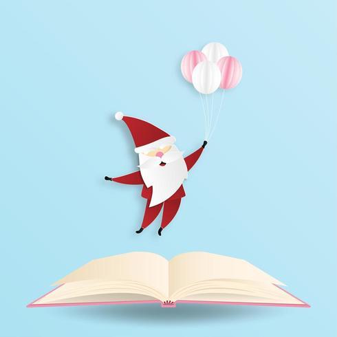 Carte de voeux de Santa en style de papier découpé