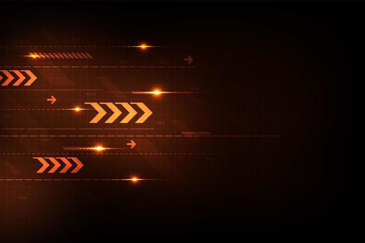Gloeiend oranje technologie pijlenconcept