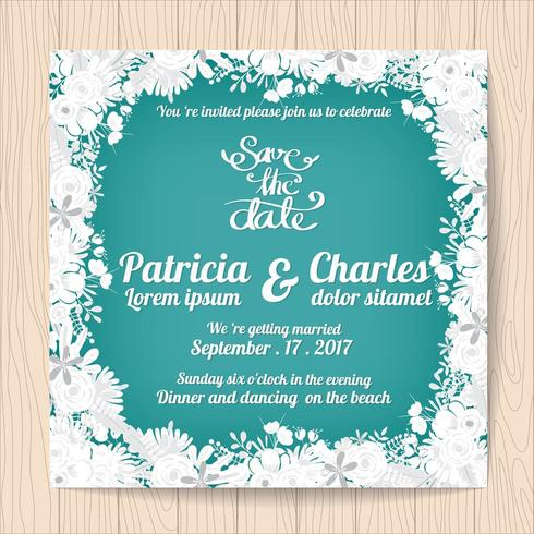 Tarjeta de invitación de boda con marco de flor blanca
