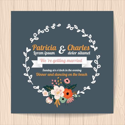 Carta di invito di nozze con ghirlanda di fiori