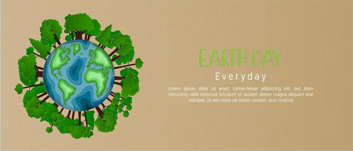 Concepto del día de la tierra en estilo de corte de papel vector