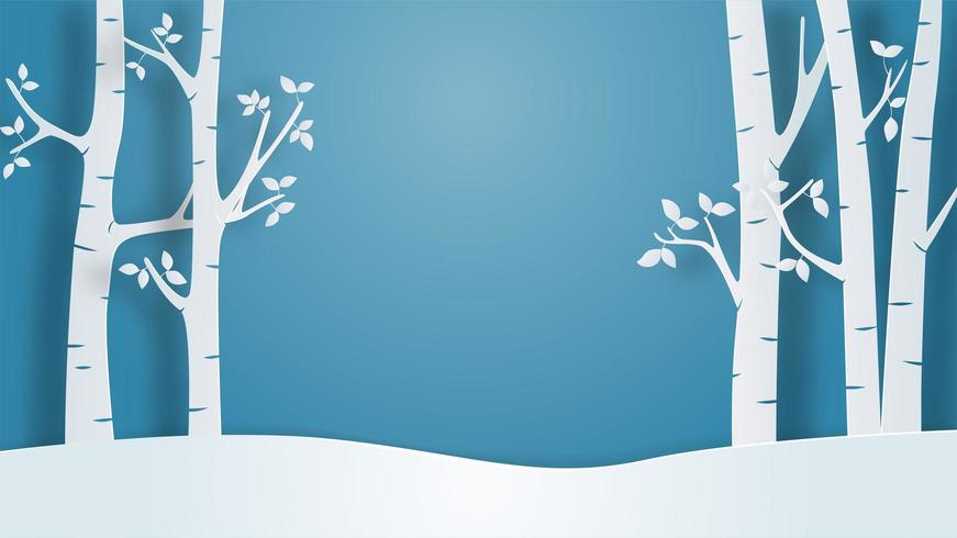 Winter landscape view background in paper cut style.