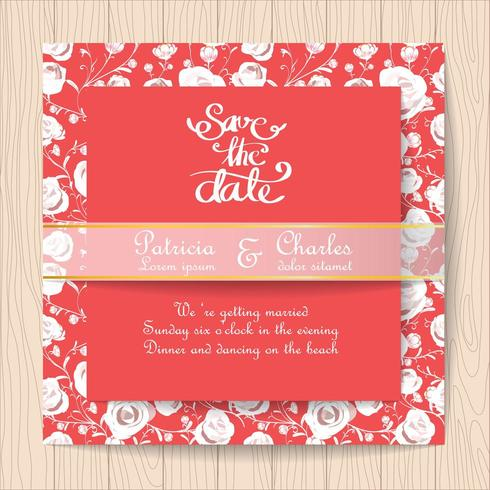 Wedding invitation red card with white roses vector