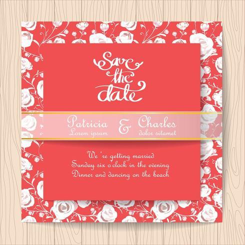 Carte d'invitation de mariage rouge avec des roses blanches vecteur