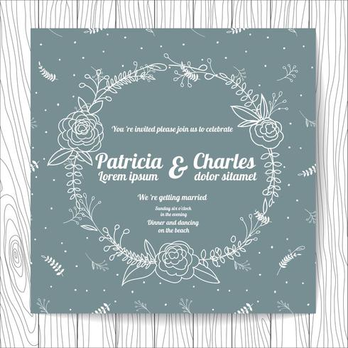 Wedding invitation card doodle style with flower wreath