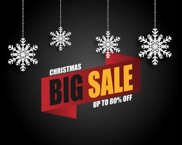 Christmas sale banner with hanging snow flakes