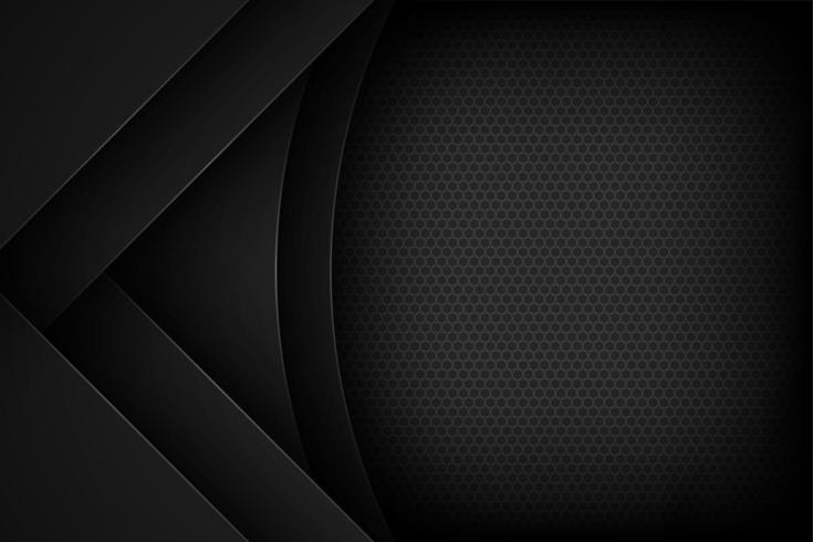 Black abstract round and angled cut paper background