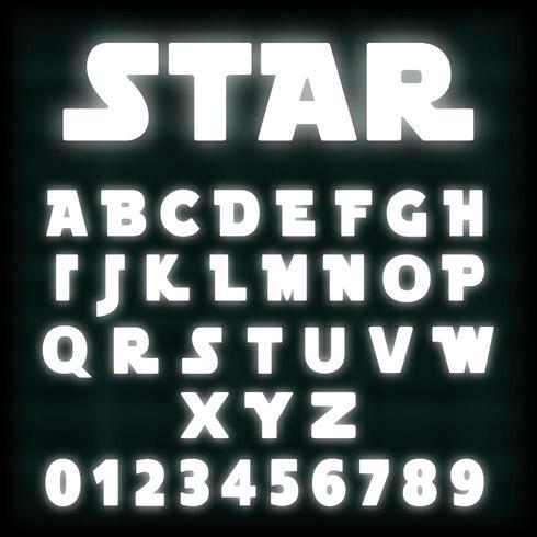 Modello di carattere alfabeto al neon bianco vettore