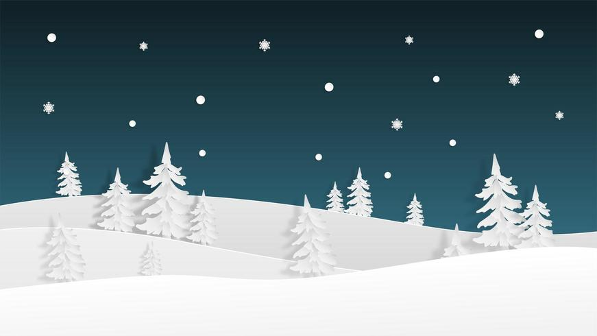 Winter landscape view  background in paper cut style