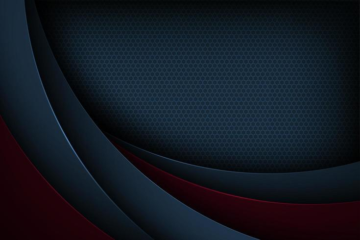 Dark blue and red cut paper curve background
