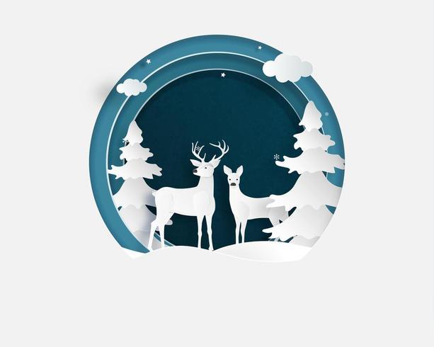 Älska par hjortar i vinterfält