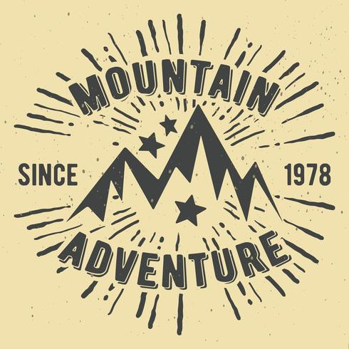 Mountain adventure vintage stamp