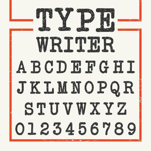 Digitare Writer Alphabet template font vettore