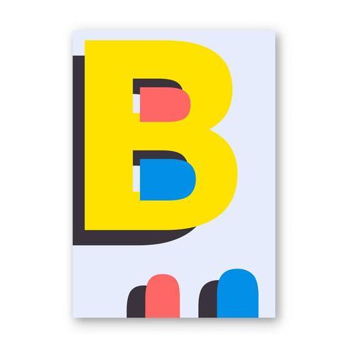 Cartel de la letra B vector